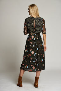 A Floral and Black Multi-Print Midi Dress with Short Ruched Sleeves