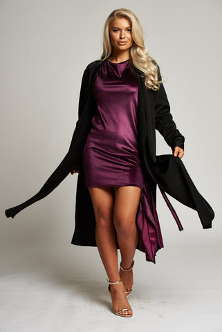 Black Duster Coat with Side Slits