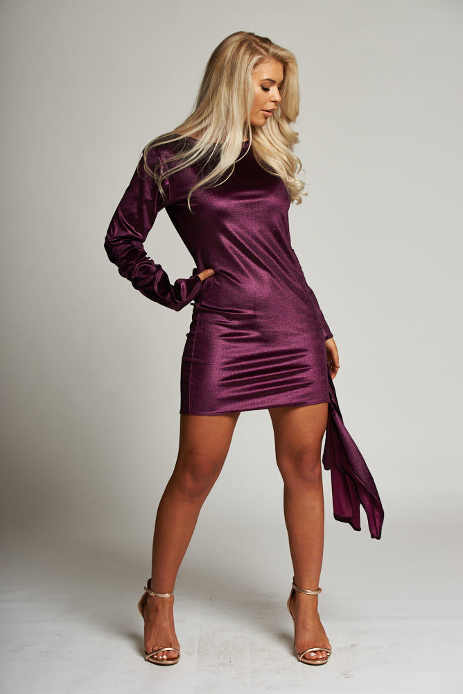A Metallic Purple Long Sleeved Drape Mini Dress