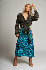 A Blue / Green / Pink Multi-Print A-Line Midi Skirt with Side Slit