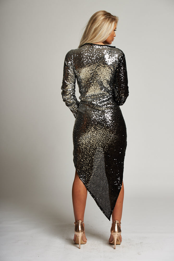 A Black / Silver Sequin Asymmetric Hem Midi Dress