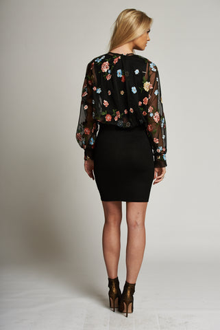 A Floral and Black Wrap Cropped Top with Elasticated Waistband