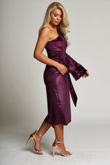 A Metallic Purple Wrap Midi Skirt