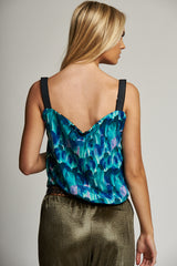 A Green / Blue Multi-Print Reversible Cami Top with Lace Trim