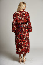 Load image into Gallery viewer, A Red/Navy Floral Wrap Midi Skirt
