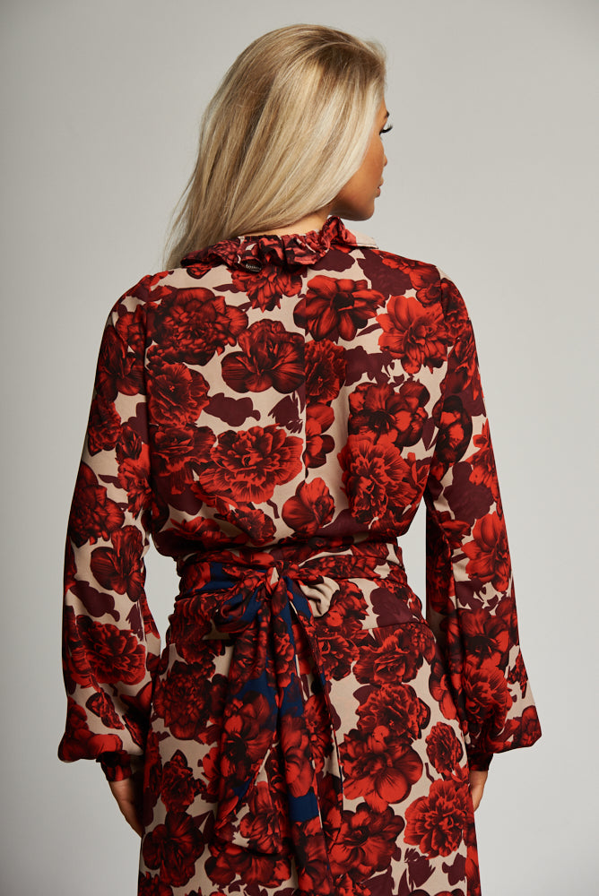 A Red and Cream Floral Wrap Frill Blouse