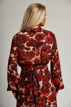 Load image into Gallery viewer, A Red and Cream Floral Wrap Frill Blouse