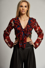 Load image into Gallery viewer, A Black and Red/Navy/Gold Multi-Print 3 Way Tie Top