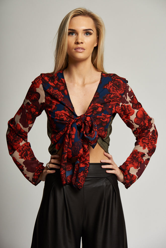 A Black and Red/Navy/Gold Multi-Print 3 Way Tie Top