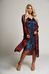 A Navy / Red Floral Duster Coat