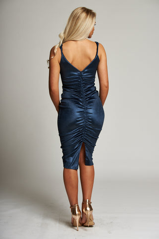 A Metallic Blue Gathered Sleeveless Midi Dress