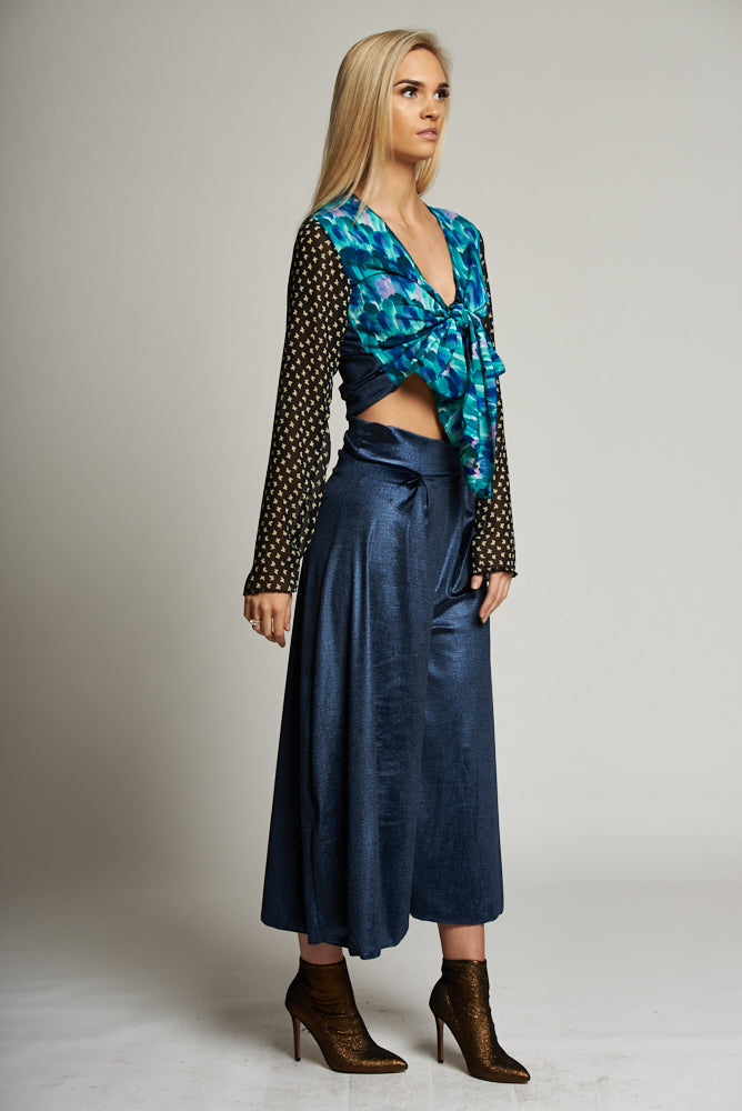 Metallic Blue Pleat Front Culottes
