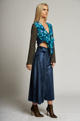 A Metallic Blue Pleat Front Culottes