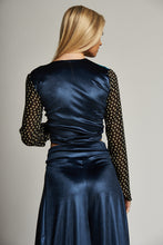 Load image into Gallery viewer, Metallic Blue Pleat Front Culottes