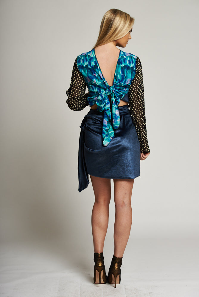 A Metallic Blue Wrap Mini Skirt
