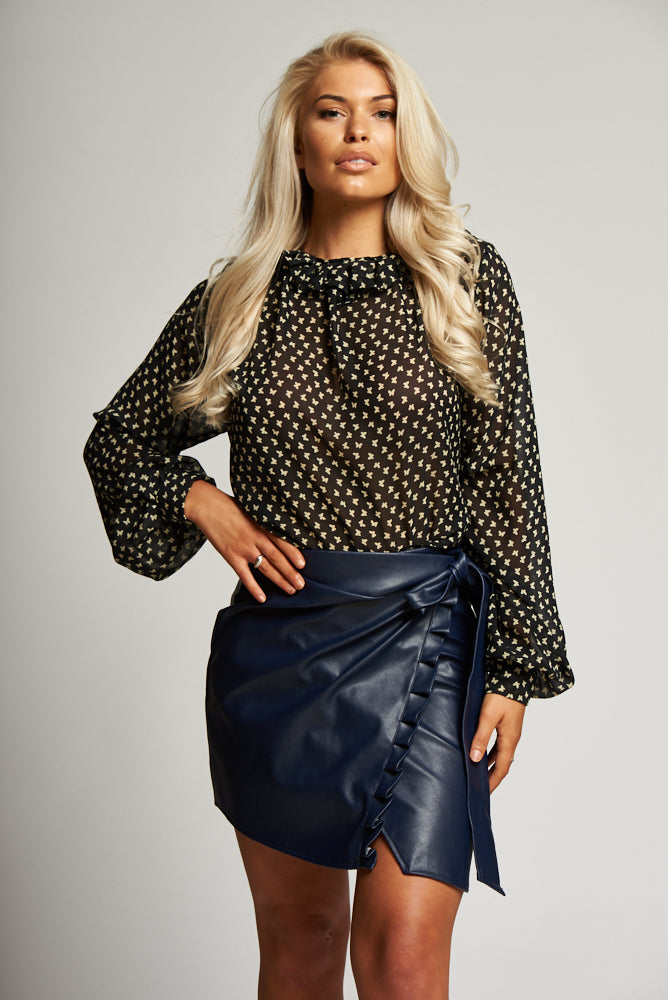 A Navy Leatherette Wrap Mini Skirt with Ruffle Front