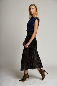 Black Lace A-line Midi Skirt with Side Slit and High Elastic Waistband