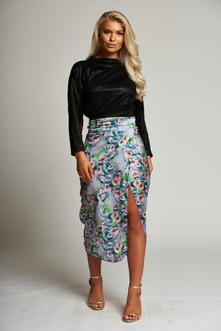 A Purple Floral Wrap Midi Skirt