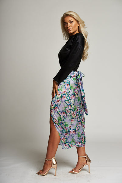 6d7ee678799c A Purple Floral Wrap Midi Skirt – Prodigal Fox