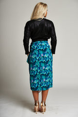 A Blue / Green / Pink Multi-Print Wrap Midi Skirt