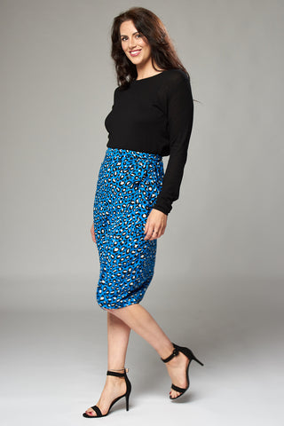 Blue Leopard Wrap Midi Skirt