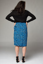Load image into Gallery viewer, Blue Leopard Wrap Midi Skirt