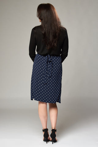 Navy & White Polka Dot Wrap Midi Skirt