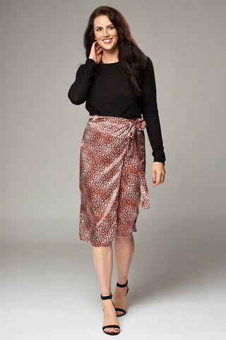 Silky Red Leopard Wrap Midi Skirt