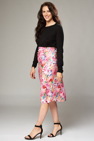 Bright Pink Floral Wrap Midi Skirt