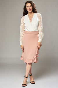 Knee Length Pale Pink Wrap Skirt with Frill Hem