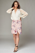 Load image into Gallery viewer, Pale Pink Floral Wrap Mini Skirt