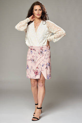 Pale Pink Floral Wrap Mini Skirt