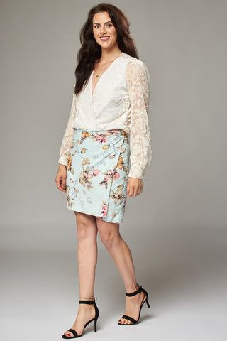 Ice Blue Floral Wrap Mini Skirt