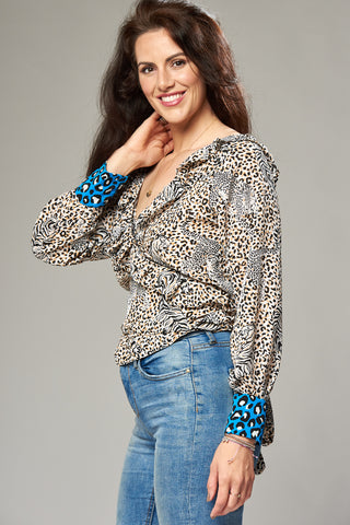 Tiger & Leopard Print Multi Wrap Blouse with Frill and Contrasting Cuffs