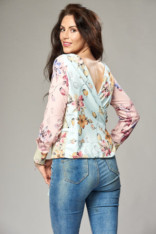 Pastel Mix Up Floral Multi Way Wrap Blouse