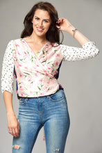 Load image into Gallery viewer, Tulip and Polka Dot Mix Multi Wrap Blouse
