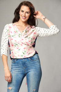 Tulip and Polka Dot Mix Multi Wrap Blouse