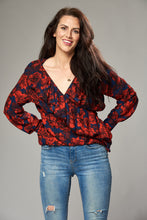 Load image into Gallery viewer, Navy and Red Floral Multi Wrap Blouse with Frill