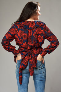 Navy and Red Floral Multi Wrap Blouse with Frill