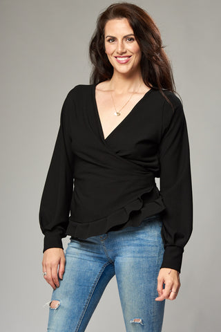 Black Crepe Multi Wrap Blouse with Frill