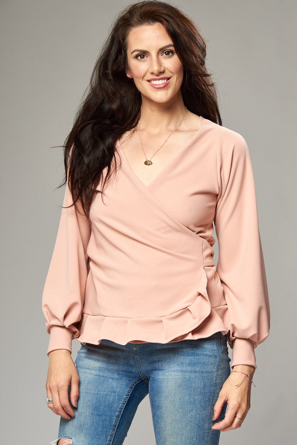 Dusky Pink Crepe Multi Wrap Blouse with Frill Hem