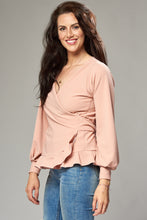 Load image into Gallery viewer, Dusky Pink Crepe Multi Wrap Blouse with Frill Hem