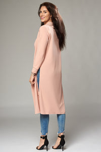 Pale Pink Crepe Duster Coat with Side Slits