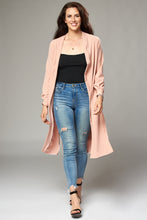 Load image into Gallery viewer, Pale Pink Crepe Duster Coat with Side Slits