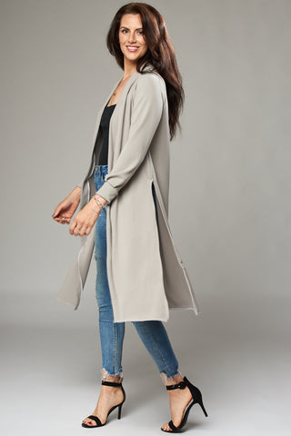 Pale Grey Duster Coat with Side Slits
