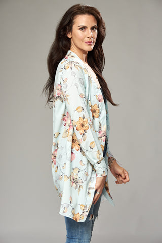 Ice Blue Floral Duster Jacket with Side Slits