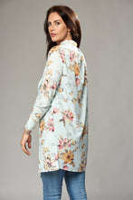 Load image into Gallery viewer, Ice Blue Floral Duster Jacket with Side Slits