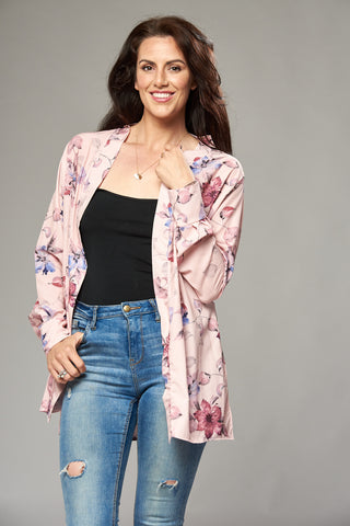Pale Pink Floral Duster Jacket with Side Slits