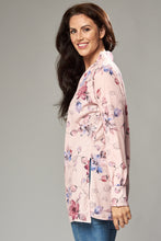 Load image into Gallery viewer, Pale Pink Floral Duster Jacket with Side Slits