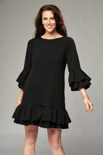 Load image into Gallery viewer, Black Mini Dress with Double Pleated Sleeves and Hem